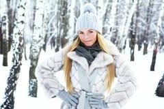 年轻,美丽的女孩,在冷的冬天被拍摄在公园 免版税库存图片
