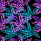 黑,蓝色和紫色棕榈传染媒介无缝的样式 免版税图库摄影
