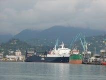 巴统,阿扎尔,乔治亚港  商业发货的货船 库存照片