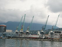 巴统,阿扎尔,乔治亚港  商业发货的货船 图库摄影