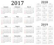 2017年, 2018年和2019传染媒介日历 免版税库存照片