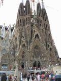 05 07 2016年,巴塞罗那,西班牙 在const下的Sagrada Familia教会 库存照片