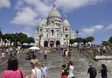 巴黎, 7月17日:大教堂从蒙马特的Sacre Coeur在巴黎 库存照片