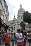 巴黎, 7月17日:大教堂从蒙马特的Sacre Coeur在巴黎 免版税库存照片