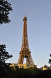 巴黎, 7月14日:艾菲尔铁塔从巴黎点燃了在法国 免版税图库摄影