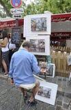 巴黎, 7月17日:画家从蒙马特的到位de Tertre在巴黎 库存照片