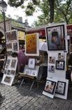 巴黎, 7月17日:画家从蒙马特的到位de Tertre在巴黎 库存图片