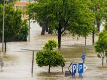 洪水, 2013年,林茨,奥地利 免版税库存照片