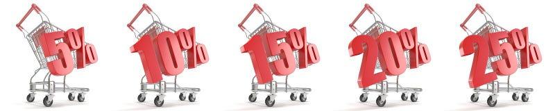 5%, 10%, 15%, 20%, 25%%在购物车前面的折扣 概念玻璃现有量扩大化的销售额 3d 图库摄影