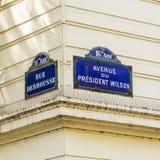 巴黎, Avenue du总统威尔逊-老路牌 免版税图库摄影