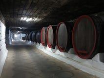 03 10 2015年, CRICOVA,有双的摩尔多瓦老传统葡萄酒库 免版税库存照片