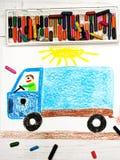 画:一辆蓝色卡车的人 库存照片