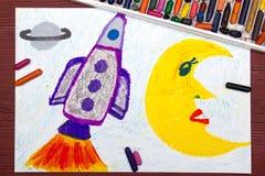 画:在波斯菊的太空火箭 免版税库存照片