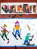 画:学会的孩子滑雪 库存图片