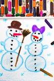 画:愉快的雪人夫妇 库存图片