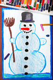 画:愉快的雪人 库存照片