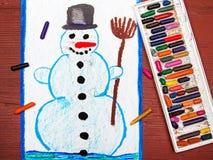 画:愉快的雪人 库存图片