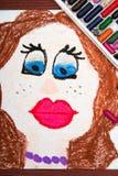 画:有红色嘴唇和窒息物的美丽的妇女 库存图片