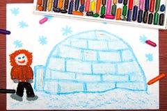 画:有他的园屋顶的小屋的爱斯基摩 免版税库存照片