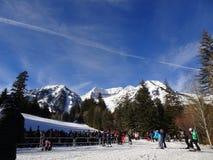:滑雪倾斜在怀俄明 库存图片
