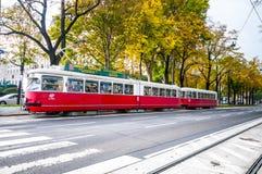 :老电车在维也纳,奥地利 库存照片