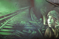 :街道艺术妇女 库存照片
