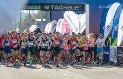 2016年 09 25 :IV莫斯科马拉松 在远处10 km开始 免版税库存照片