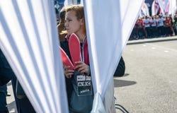 2016年 09 25 :IV莫斯科马拉松 开始于10 km 免版税图库摄影