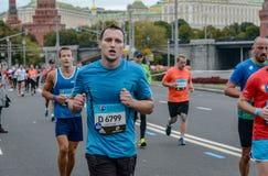 2016年 09 25 :IV莫斯科马拉松 第36个km马拉松距离 免版税库存图片