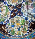 ?有镇压和图画的eramic板材在古老波斯样式,被保存从19世纪在伊朗 图库摄影