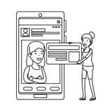 年轻女人加上智能手机 向量例证