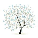 Δέντρο άνοιξη με τα λουλούδια για το σχέδιό σας Στοκ εικόνες με δικαίωμα ελεύθερης χρήσης
