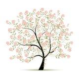 Δέντρο άνοιξη με τα τριαντάφυλλα για το σχέδιό σας Στοκ φωτογραφία με δικαίωμα ελεύθερης χρήσης