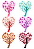 Δέντρο καρδιών με τα πουλιά, διάνυσμα Στοκ Εικόνα