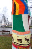 Δέντρο που ντύνεται σε ένα πουλόβερ πλεγμένο Στοκ φωτογραφία με δικαίωμα ελεύθερης χρήσης