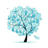 Δέντρο τέχνης με τις πτώσεις νερού για το σχέδιό σας Στοκ εικόνα με δικαίωμα ελεύθερης χρήσης