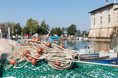 Δίχτυ του ψαρέματος στο λιμάνι Στοκ Εικόνες