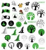 Δασικά εικονίδια Στοκ εικόνες με δικαίωμα ελεύθερης χρήσης