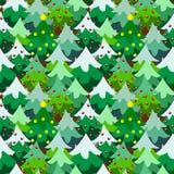 Δασικό άνευ ραφής σχέδιο δέντρων πεύκων θέματος Χριστουγέννων Στοκ Φωτογραφία