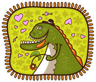 Δεινόσαυρος με ένα λουλούδι Στοκ φωτογραφία με δικαίωμα ελεύθερης χρήσης