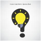 Δημιουργικά σύμβολο λαμπών φωτός και σημάδι ερωτηματικών στο υπόβαθρο Στοκ φωτογραφία με δικαίωμα ελεύθερης χρήσης