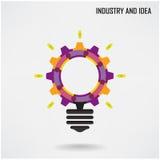 Δημιουργική λάμπα φωτός με το βιομηχανικό σχέδιο υποβάθρου έννοιας Στοκ Εικόνες