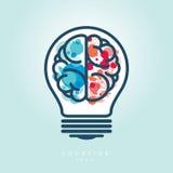 Δημιουργική λάμπα φωτός που αφήνονται και σωστό εικονίδιο ιδέας εγκεφάλου Στοκ Εικόνες
