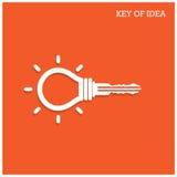 Δημιουργική έννοια ιδέας λαμπών φωτός με το σύμβολο λουκέτων Κλειδί του IDE Στοκ φωτογραφία με δικαίωμα ελεύθερης χρήσης