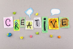 Δημιουργική επιχείρηση Word για την έμπνευση φαντασίας δημιουργικότητας και τις νέες ιδέες Στοκ φωτογραφίες με δικαίωμα ελεύθερης χρήσης
