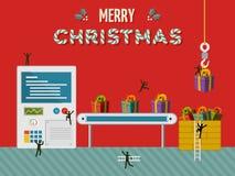 Δημιουργική κάρτα απεικόνισης εργοστασίων δώρων Χριστουγέννων Στοκ Εικόνα