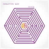 Δημιουργικό σύμβολο εγκεφάλου στη μέση του εξαγωνικού λαβυρίνθου Στοκ εικόνα με δικαίωμα ελεύθερης χρήσης