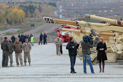 Δημοσιογράφοι στην έκθεση Στοκ φωτογραφία με δικαίωμα ελεύθερης χρήσης