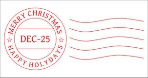 διάνυσμα γραμματοσήμων ταχυδρομικών σφραγίδων ταχυδρομικών τελών Χριστουγέννων Στοκ Εικόνες