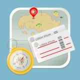 Διάνυσμα εικονιδίων πυξίδων εισιτηρίων χαρτών ταξιδιού Στοκ εικόνα με δικαίωμα ελεύθερης χρήσης